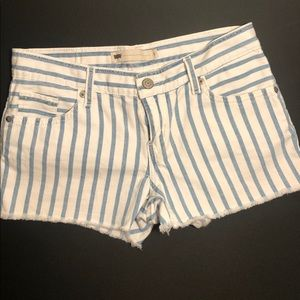 Levi's blue and white vertical strip jean shorts